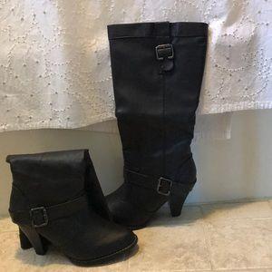 Rampage knee high black heeled boots